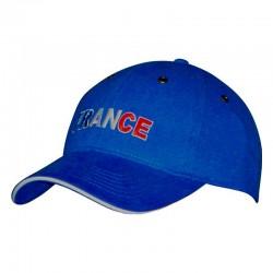 Casquette bleue avec écriture France bleu, blanc, rouge
