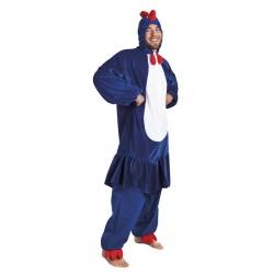 Costume de coq bleu, blanc, rouge (1,95m)
