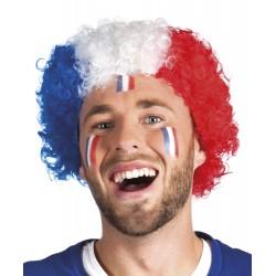 Perruque frisée, bleu, blanc, rouge