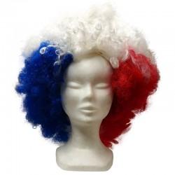 Maxi perruque Afro, bleu, blanc, rouge