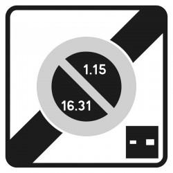 Fin d'une zone à stationnement unilatéral, à durée limitée par disque