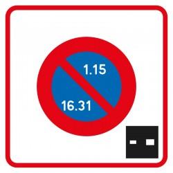 Début de zone à stationnement unilatéral, à durée limitée par disque