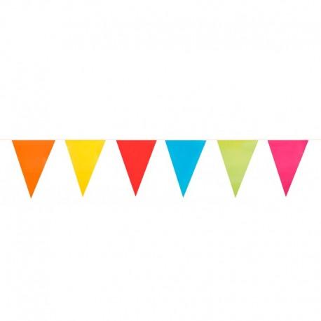 Guirlandes à fanions plastiques - Multicolores