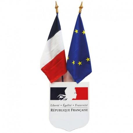 Kit de pavoisement des Ecoles écusson drapeau France et Europe