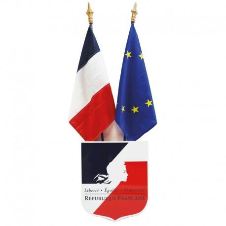 Kit de pavoisement des écoles : écusson N°2, drapeau France et Europe