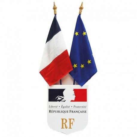 Kit de pavoisement des écoles : écusson N°3, drapeau France et Europe