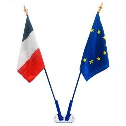 Kit de pavoisement des écoles : fixation en V drapeau France et Europe