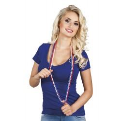 3 colliers de perles bleu, blanc, rouge