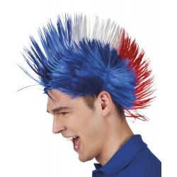 Perruque punk bleu, blanc, rouge