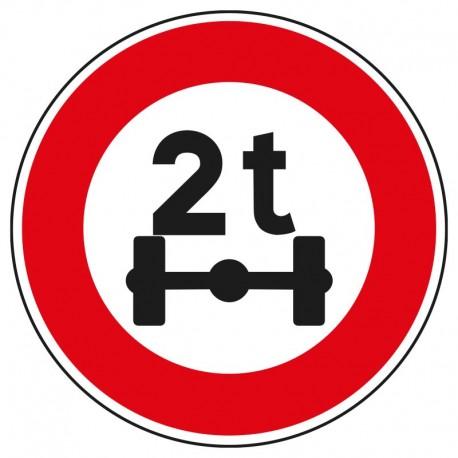 Interdit aux véhicules d'un poids par essieu de plus de 2 tonnes