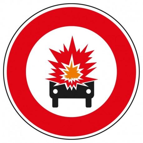Interdit aux véhicules transportant des marchandises explosives