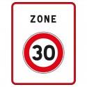 Début d'une zone limitée à 30 Km/h