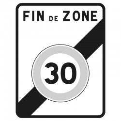 Fin d'une zone limitée à 30 Km/h
