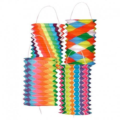 Lanterne cylindrique multicolore en papier