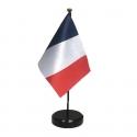 Drapeau de table France en tissu mât bois