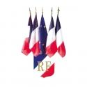 Ecusson tricolore RF et 4 drapeaux France + 1 Europe