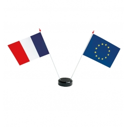 Drapeaux de table France Europe en plastique + socle