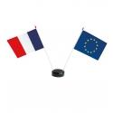 Drapeaux de table France Europe en plastique + socle