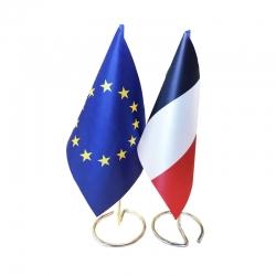Drapeaux de table France et Europe en tissu mât métal