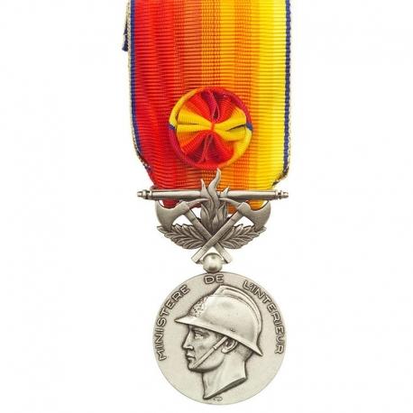 Médaille Sapeurs Pompiers services exceptionnels argent