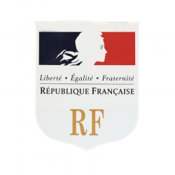 Ecusson porte drapeaux Fond blanc + RF