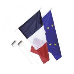 Kit 1 Drapeau France et 1 Europe anti-enroulement