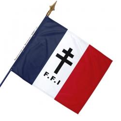 Drapeau France Croix de Lorraine Noire avec FFI