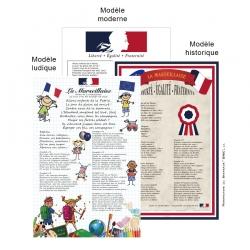 Cadre alu La Marseillaise pavoisement des Ecoles loi Blanquer Drapeaux Unic