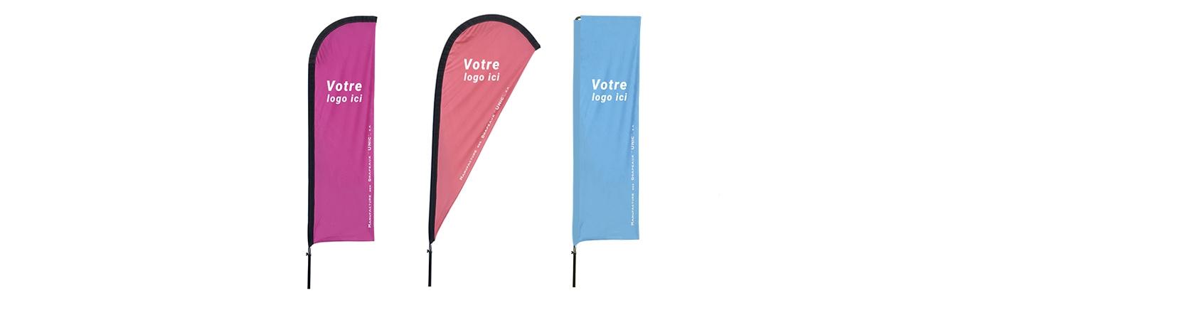 Drapeaux Unic partenaire de votre communication avec toute la série d'oriflamme personnalisé